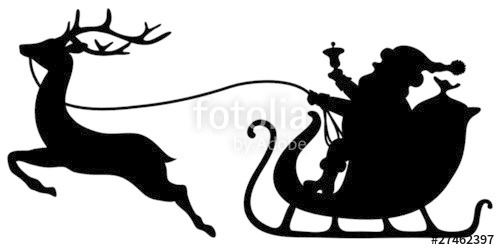 500x250 Christmas Sleigh Santa Amp Reindeer Stock Image And Royalty Free