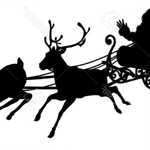 300x300 Photosanta Sleigh Silhouette Illustration Of Santa Claus In His