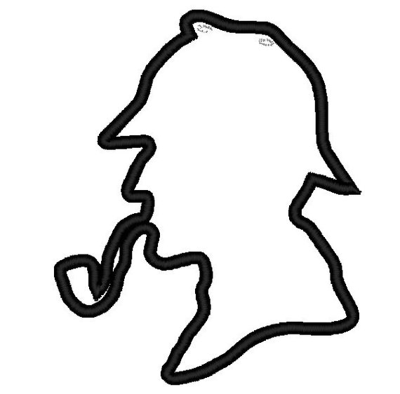 570x562 Sherlock Holmes Silhouette Applique Head. Instant Download