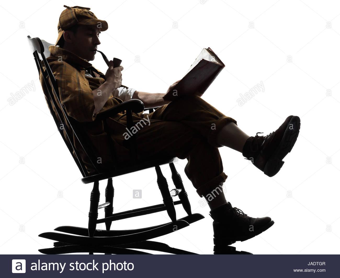 1300x1063 Sherlock Holmes Reading Silhouette Sitting Rocking Chair
