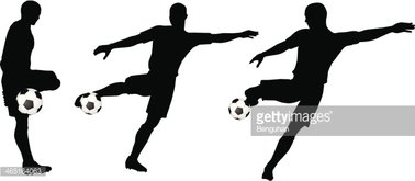 378x165 Poses Of Soccer Players Silhouettes In Run And Strike Position
