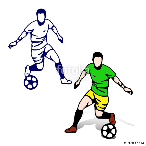 500x500 Soccer Players With The Ball In Motion Playing, Silhouette Cartoon