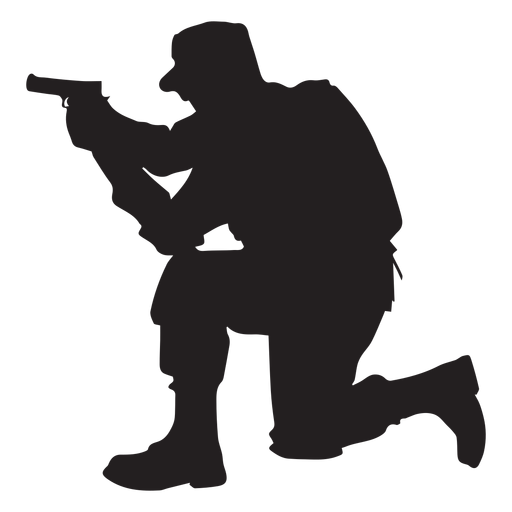512x512 Soldier Kneel Aiming Silhouette