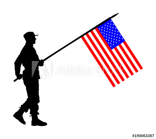 500x447 United States Of America Soldier With Flag Vector Silhouette