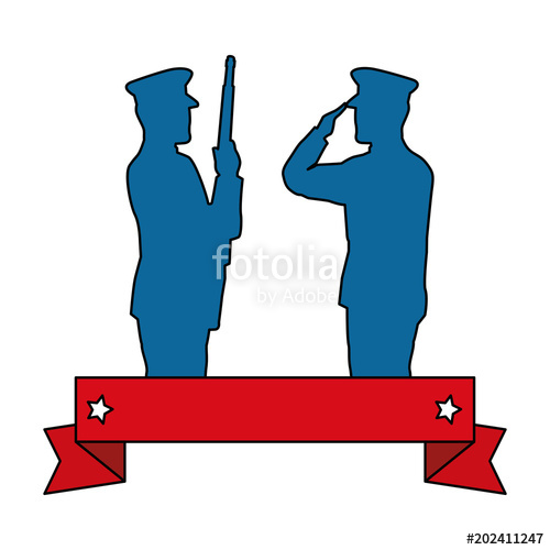 500x500 Silhouette Of Military Saluting And Soldier Vector Illustration
