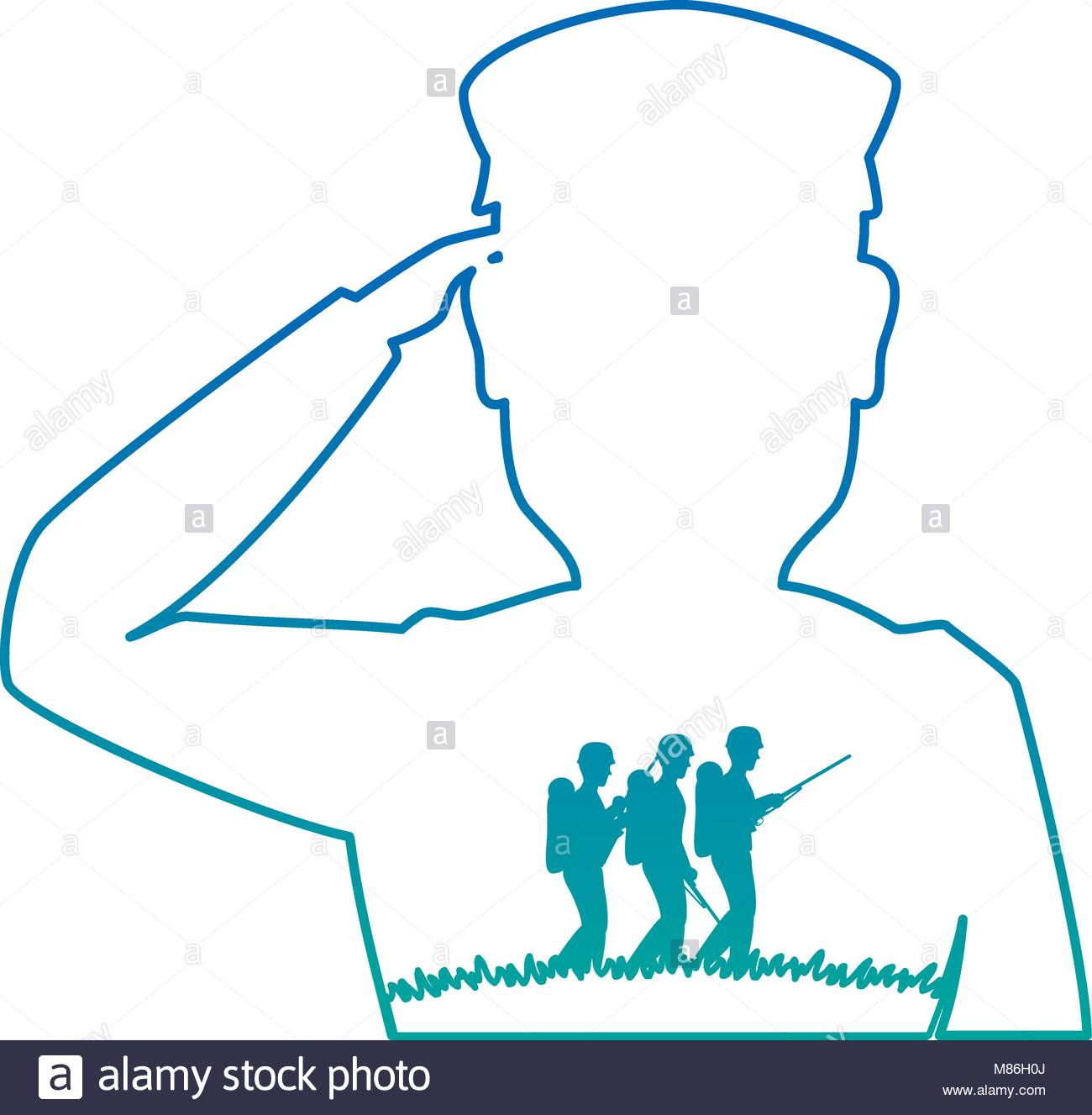 1300x1327 Silhouette Of Soldier Saluting Stock Vector Art Amp Illustration