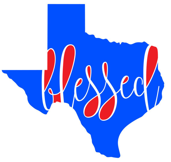 570x542 Blessed In Texas Instant Download Clipart Graphic Files