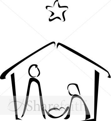 354x388 Nativity Scene Clipart Black And White