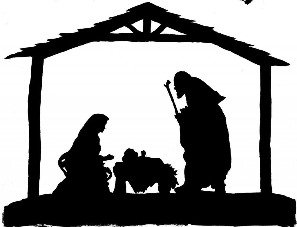 1024x783 Free Nativity Scene Clipart Black And White