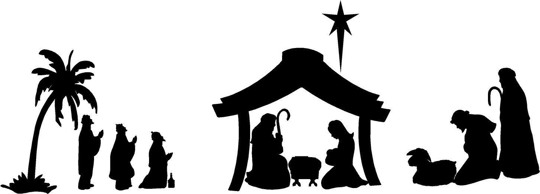 1453x521 Nativity Scene For Walls Or Glass Blocks Christmas