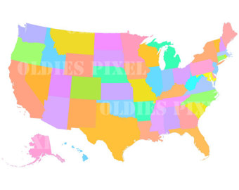 340x270 50 States Usa Map United States Of America Photoshop 50 Vector