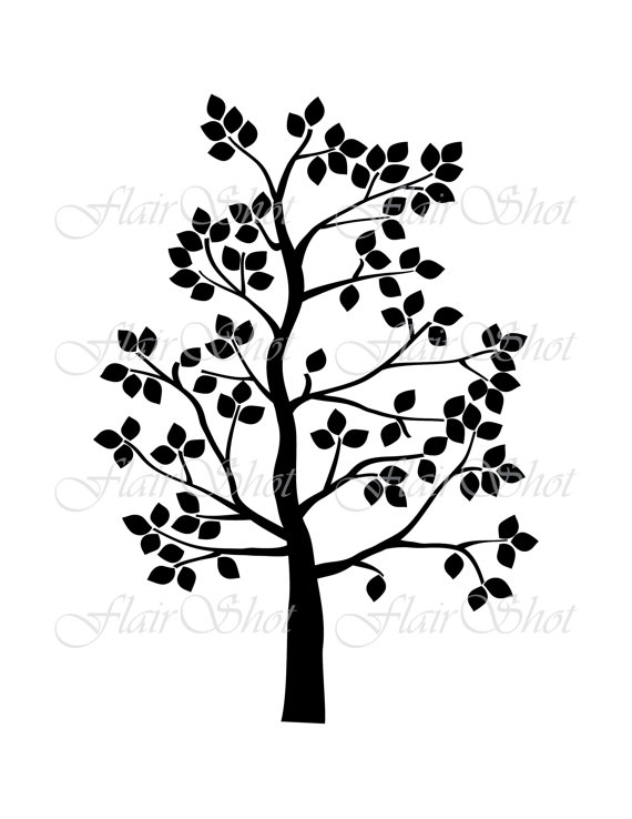 570x738 Digital Tree Clip Art, Family Tree Clipart, Silhouette Tree