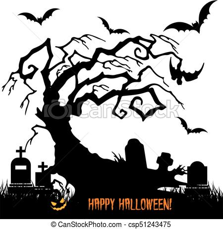 450x462 Holiday Halloween, Silhouette Scary Tree Without Leaves