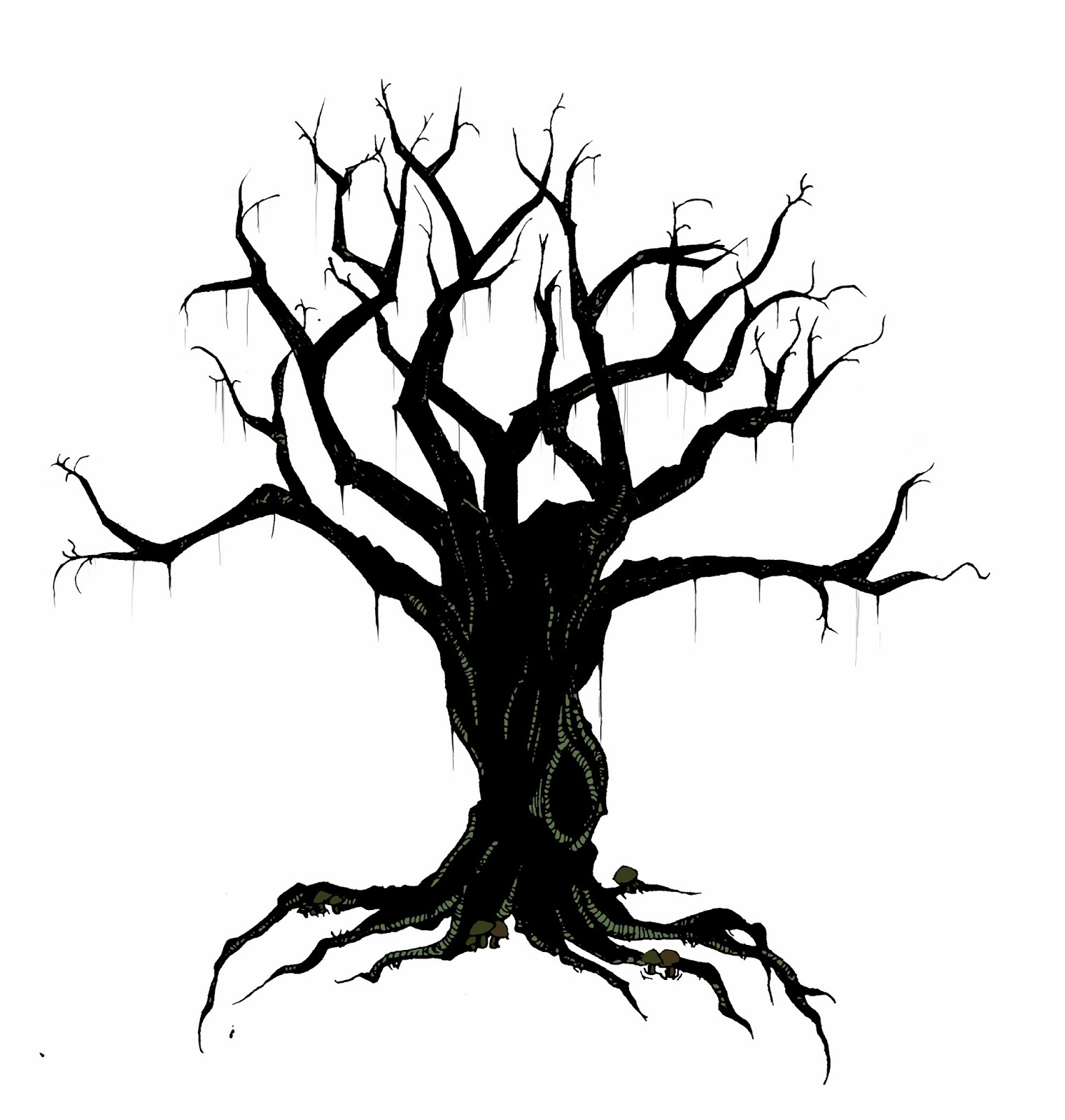 1522x1600 Creepy Tree Clipart Outline