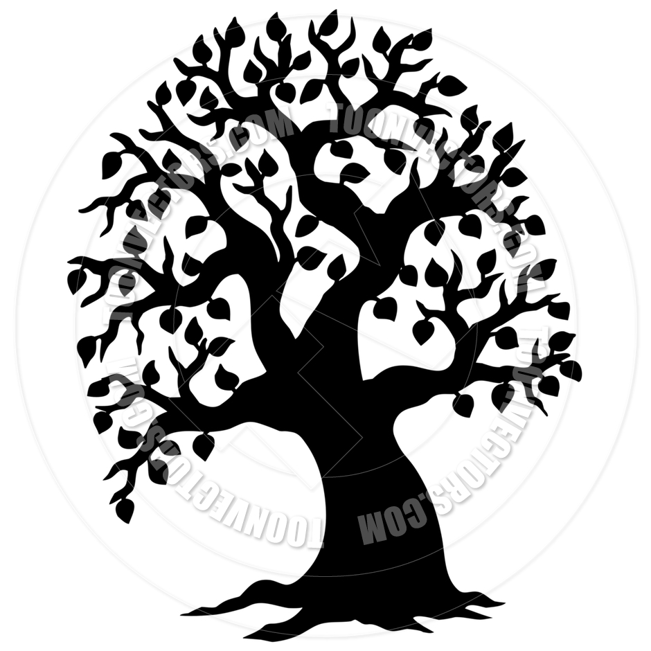 940x940 Cartoon Big Leafy Tree Silhouette By Clairev Toon Vectors Eps