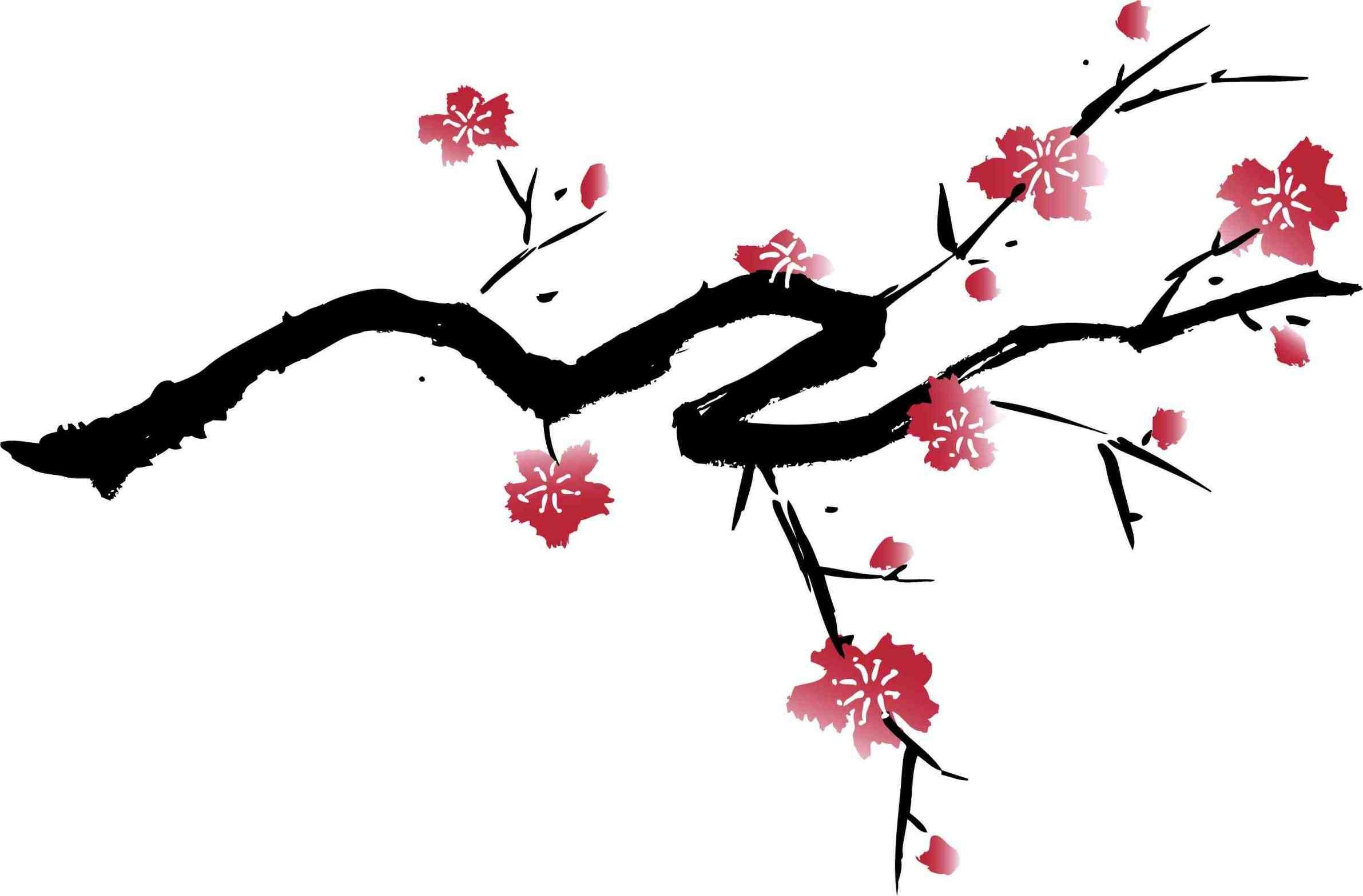 2383x1568 Cherry Blossom Tree Clipart Black And White