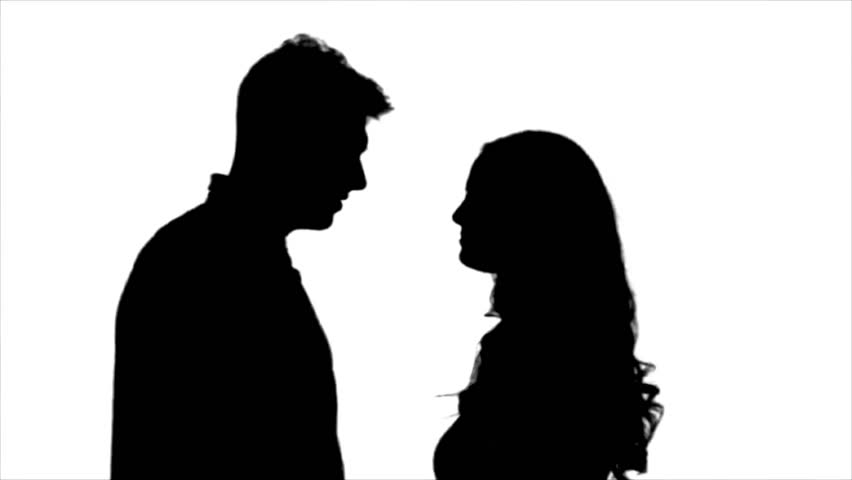 852x480 Loving Couple Look At Each Other And Begin To Kiss. Silhouette