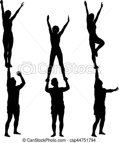 394x470 Set Black Silhouette Two Acrobats Show Stand On Hand. Vector