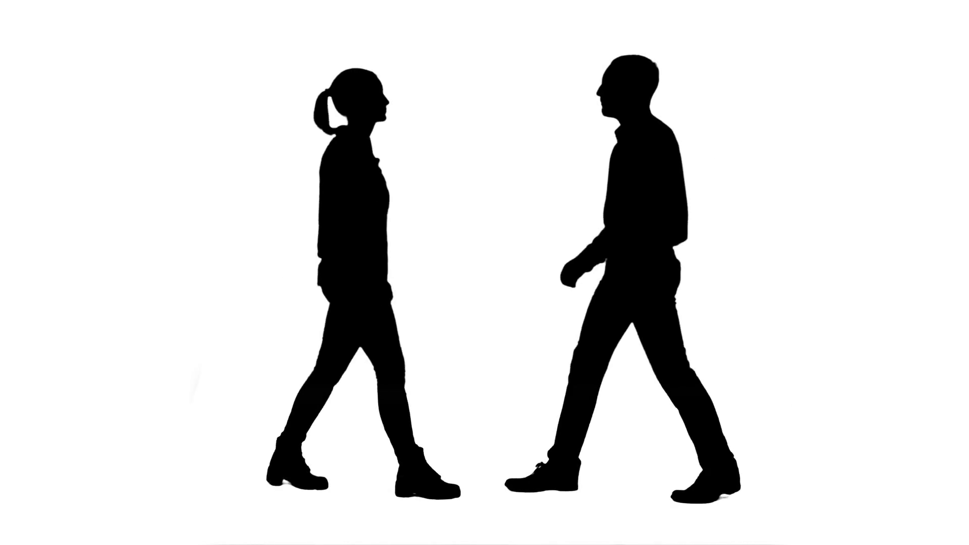1920x1080 Silhouette Two Young People Shake Hands Keep Silent Stock Video