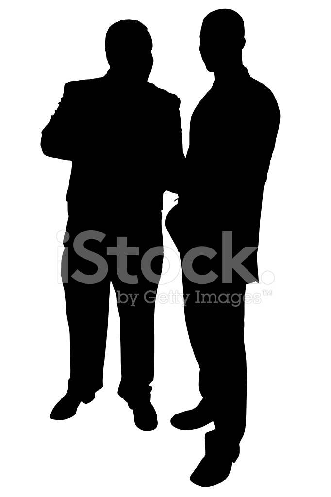 682x1024 Silhouette With Clipping Path Of Two Businessmen Talking Stock