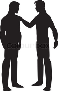 204x320 Silhouette Of Two Men Talking, Illustration Stock Vector Colourbox