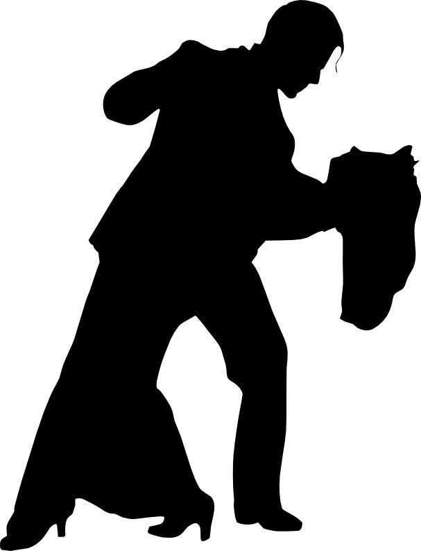 Silhouette Of Two People Dancing