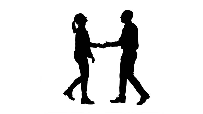 852x480 Silhouette Professional Pair Dancing Jive On White Background