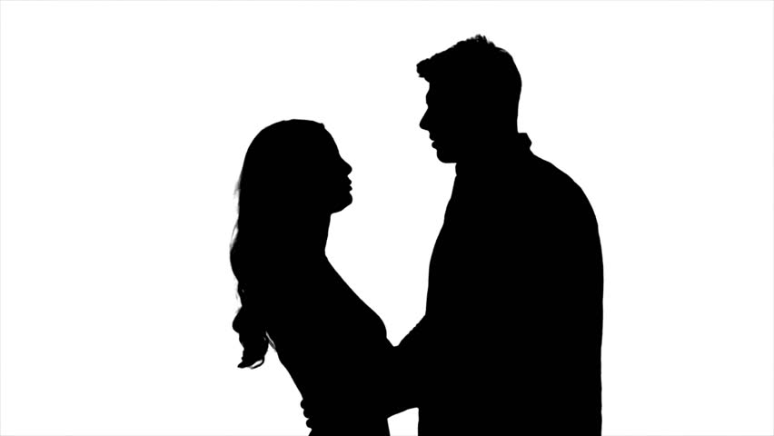 852x480 Pair Of Lovers Kissing. White Background. Silhouette. Slow Motion