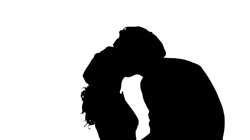 854x480 Portrait Of Two People Kissing. Silhouette. White
