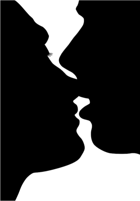 449x646 Silhouette Of Two People Kissing