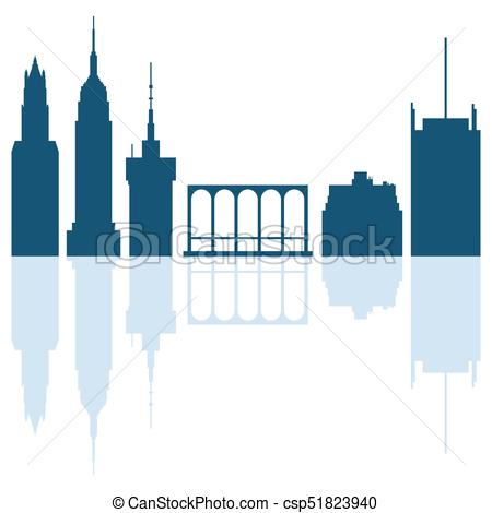 450x470 Silhouettes Of Modern Buildings In The Usa And Soaring Eps