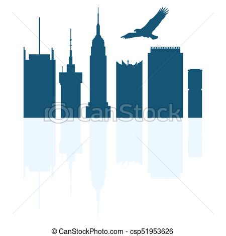 450x470 Silhouettes Of Modern Buildings In The Usa And Soaring Vector