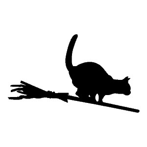 300x300 Witch Riding Broom Clipart