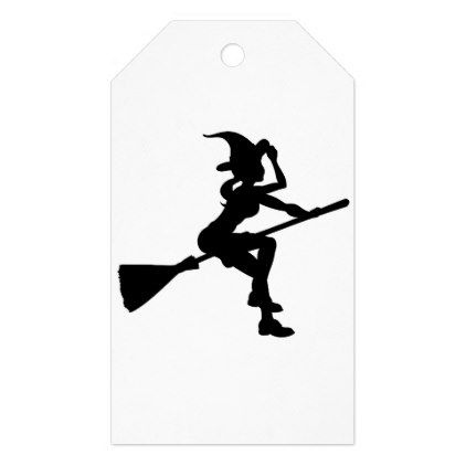 422x422 Silhouette Halloween Witch Flying On Broomstick Gift Tags