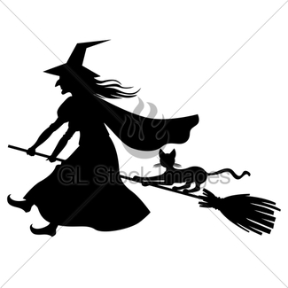 325x325 Silhouette Witch With Broom Gl Stock Images