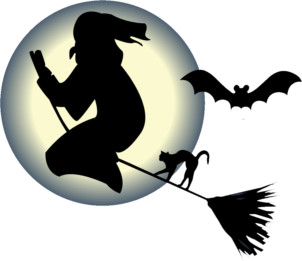 1012x873 Witch Flying On A Broom With A Cat And Bat In Front Of The Moon Png
