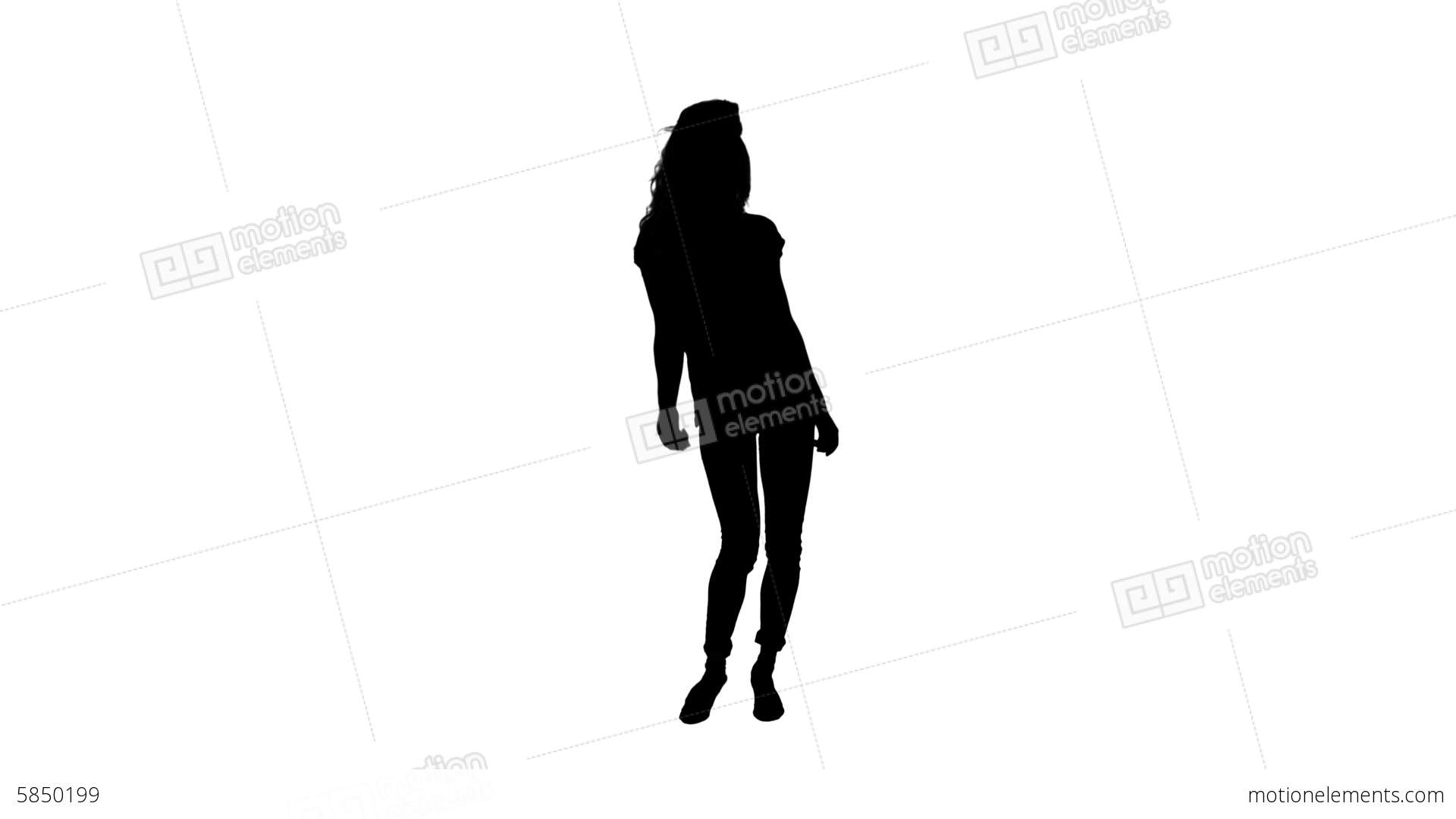 1920x1080 Silhouette Of Woman Dancing And Moving Stock Video Footage 5850199