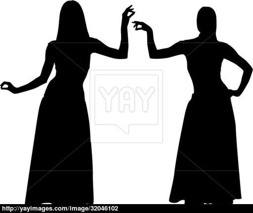 512x431 Silhouettes Of Women Dancing Belly Vector
