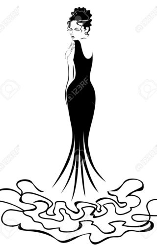 320x500 Silhouette Of Woman In Bright Pink Dress Vector Clipart Image