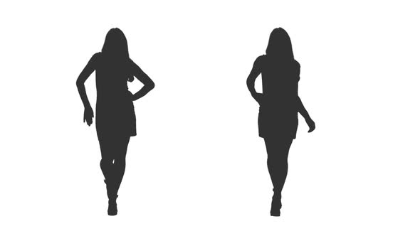 590x332 Silhouette Of Young Woman Walking In Dress, Alpha Channel By Mgpremier