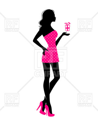 318x400 Silhouette Of Woman In Pink Dress With Cocktail Royalty Free
