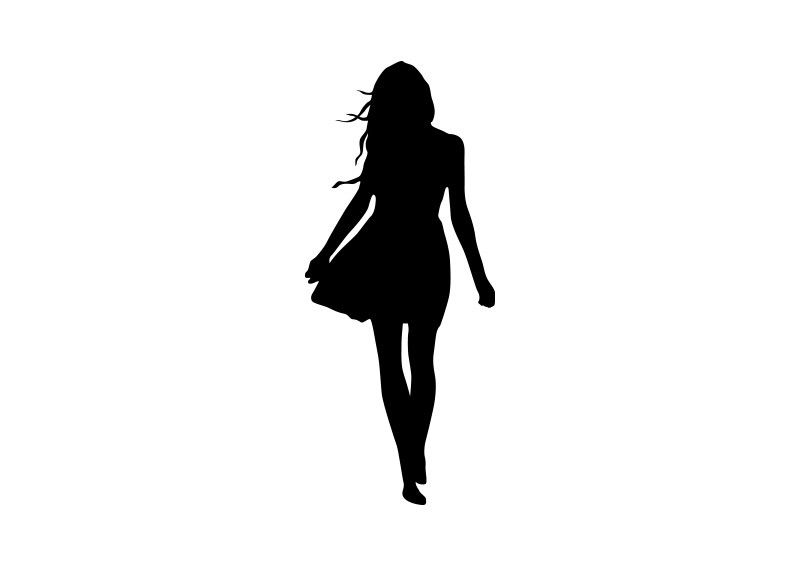 800x566 Woman In Dress Vector Silhouette Vector Silhouettes