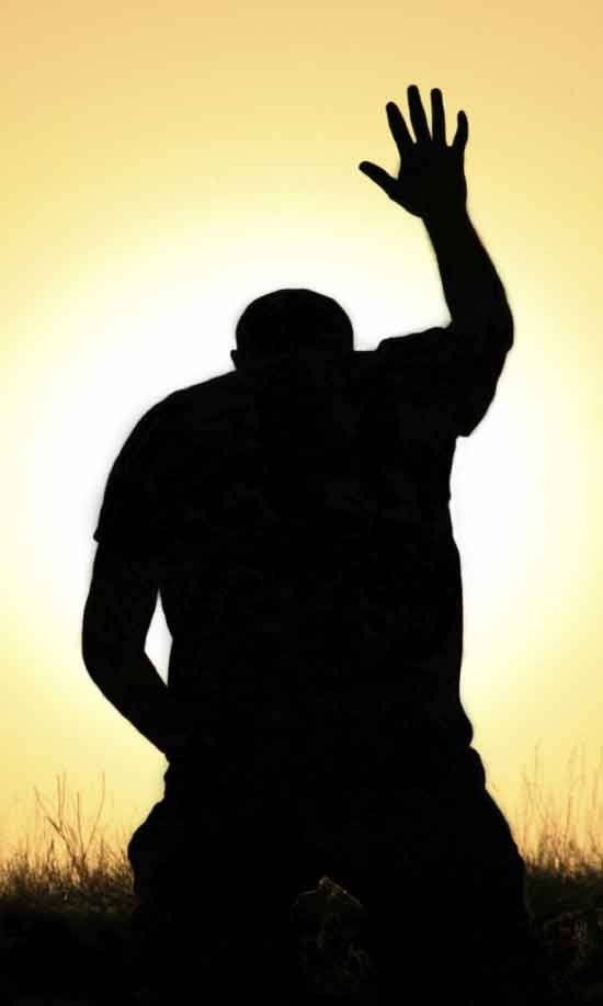 Silhouette Of Woman Praising God