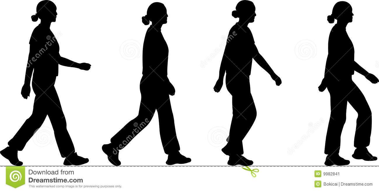 Silhouette Of Woman Walking