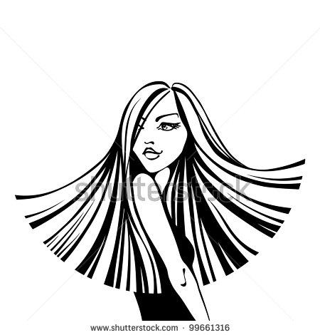450x470 Flowing Hair Clipart
