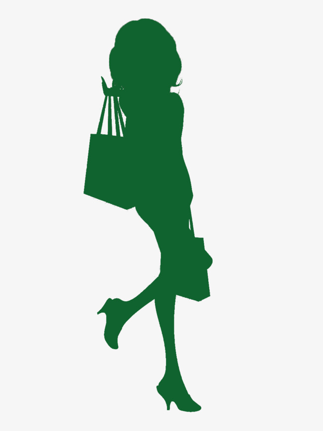 650x867 Green Silhouette Cartoon Woman With Long Hair, Woman, Green