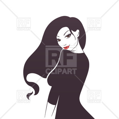 400x399 Beautiful Woman's Silhouette With Long Hair And Red Lips Royalty