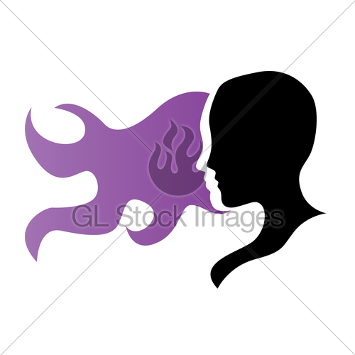 500x500 Silhouette Of A Girl In Profile With Long Hair Gl Stock Images