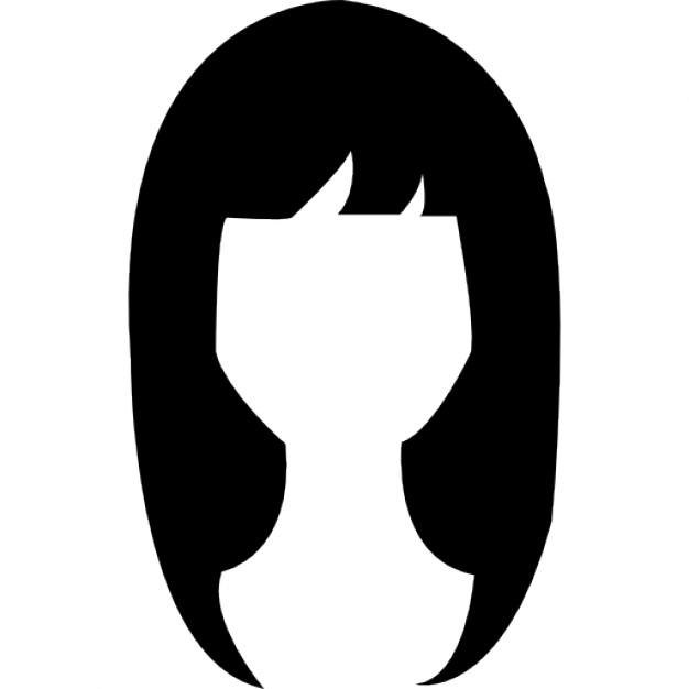 626x626 Woman Dark Long Hair Shape Icons Free Download
