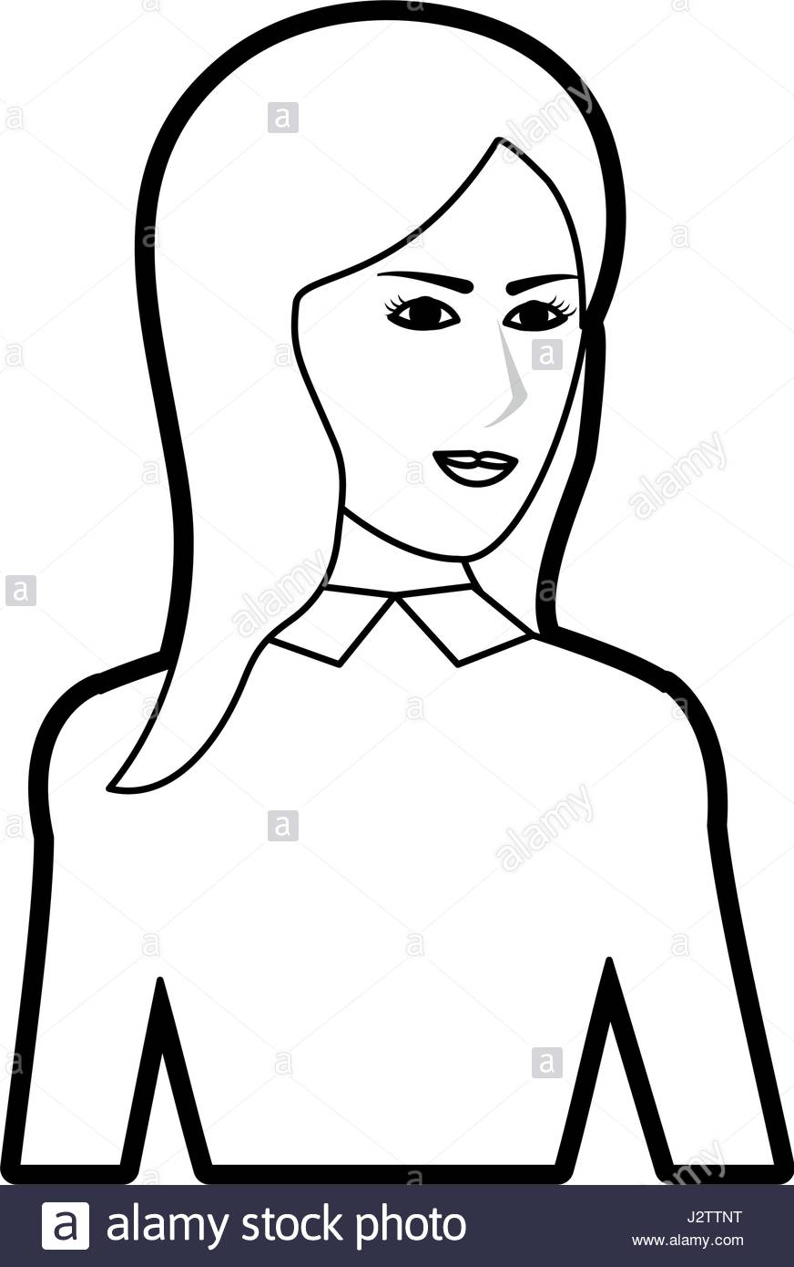 872x1390 Black Silhouette Cartoon Half Body Woman With Long Hair And Jacket